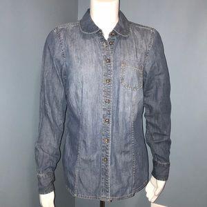Boden Denim Jean chambray button down shirt size 8